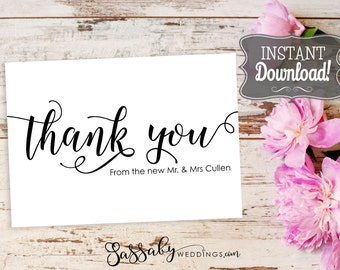 Wedding Thank You Card Editable Printable - INSTANT DOWNLOAD - New Mr & Mrs, Thankyou Notes, Wedding Stationery, Cards