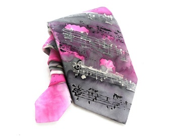 Musical Pink Man Tie. Gift for Him. Hand Painted Fuchsia Grey Silk Tie. Birthday Anniversary Gift. Pink Black Tie. OOAK Tie. MADEtoORDER