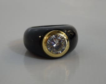 18K gold ring: ceramic