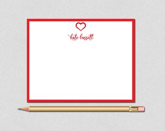 Valentine Note Card, Monogram Note Card, Red border Note Card, Monogram Personalized Stationery, Personalized Note Cards, Custom Stationery