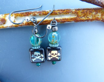 Teal and Black Earrings with Iridescent Skull Motif
