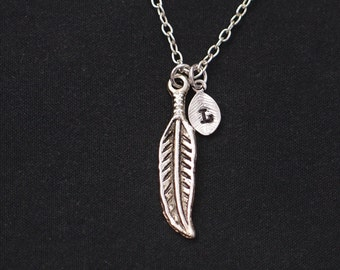 tiny feather necklace, sterling silver filled, initial necklace, silver bohemian feather charm on silver chain, feathers necklace, tribal
