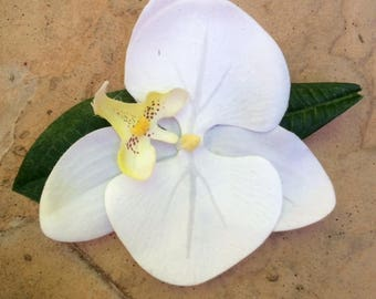 White Orchid Tropical, Bridal hair clip