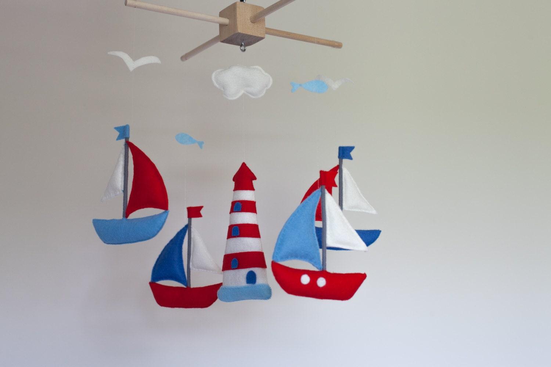 baby mobile segelboot kinderbett mobil filz meer mobile. Black Bedroom Furniture Sets. Home Design Ideas