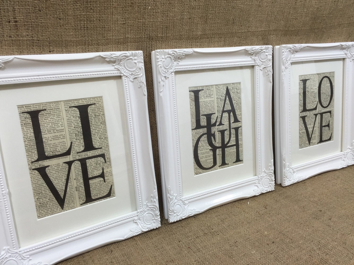 Live laugh love dictionary prints set of 3 framed word art request a custom order and have something made just for you jeuxipadfo Gallery