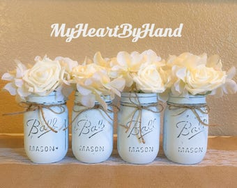 Blue Baby Shower Decorations, Boy Communion and Baptism Decorations, Boy Rustic Nursery, Rustic Home Decor, Jars for Wooden Box, Painted Jar