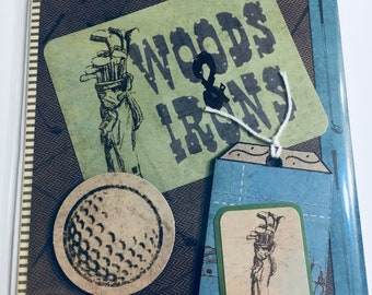Woods & Irons Golf Handmade Greeting Card Perfect for Father's Day Birthday or Any Occasion Father Grandfather Husband Brother Son Golfer