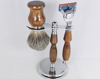 Handcrafted Shaving Set designed for Fusion/M3/Safety Razor with Stand using Black Walnut