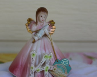1980's Josef Originals 14 YEAR BIRTHDAY Girl ANGEL Figurine Rainbow Tag