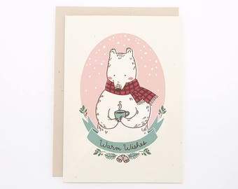 "Christmas/Holiday card - ""Warm Wishes"" Polar Bear"