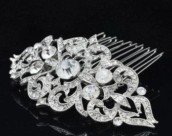 Silver comb, rhineston comb, pearl and rhinestone hair comb, hair comb, wedding comb,