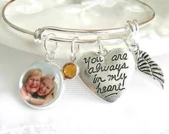 Photo Memory Charm Bracelet Always in My Heart Loss of Dad Birthstone Bangle Sympathy Gift Memory Jewelry In Loving Memory Bracelet for Mom