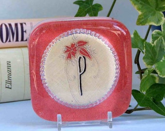 P monogram paperweight, vintage embroidery, coral, desk decor, gift for boss or co-worker