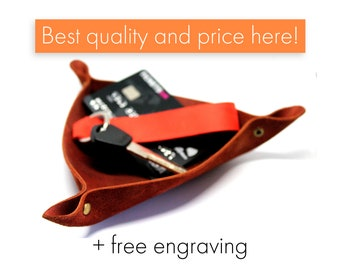 Leather valet tray, mens gift, leather catchall, anniversary gift, wedding gift, personalized leather gift, husband gift