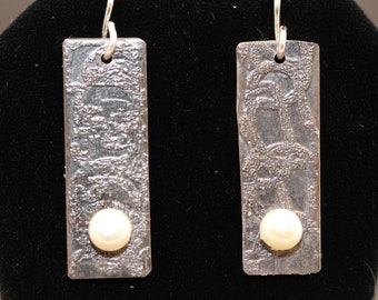 Sterling Silver Etched Earrings with Pearls (050318-004)