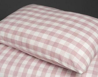 Linen Pillow case, Linen Bedding, Linen Pillow case, Purple Pink Pillow Case