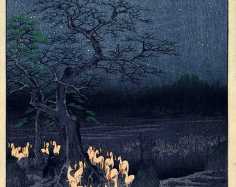 """Hiroshige, """"New Years Foxfires at the Changing Tree"""" Giclee Art Print - Japanese Wall Art - Vintage Japan Poster - Japanese Color Print"""