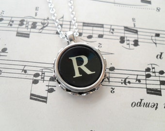 Authentic Vintage Typewriter Key Necklace Letter R Initial Personalized Antique Gift