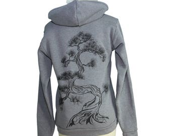 Japanese Pine Tree Screen Printed Zip Hoodie, Heather Ash Grey, Sumi-e, Zen, Unisex, Bonsai, Eco-Friendly, Winter - Gifts for Him or Her