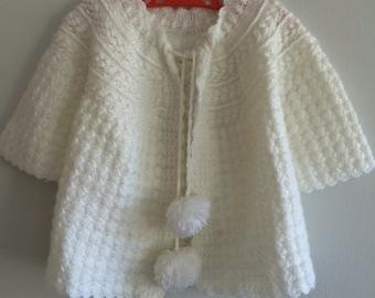 Vintage/baby/girls/sweater/shrug/jumper/white/knit/crochet/handmade/pompoms/sweet/darling/heirloom/summer/spring