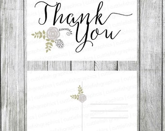Printable Thank You Postcard - Instant Download