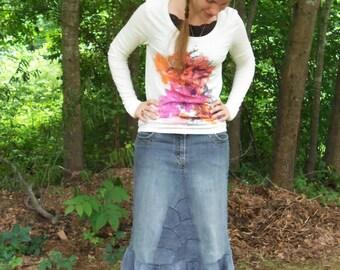 Long Jean Skirt, Mermaid Style, Unique Modest Fashion