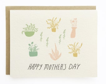 Happy Mother's Day - Plants - Hand Illustrated Mother's Day Card - Blank Inside