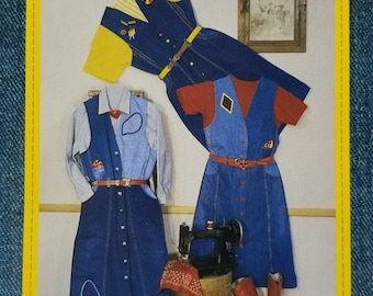 Junk Jeans Dress in Denim Pattern DRS 1010 1996 CB Nicklels INC Misses sizes Small to 3X