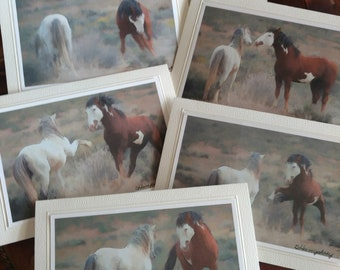 Wild Mustangs of Colorado - Sand Wash Basin Wild Mustangs - Picasso Jr. and Tiger - Stallion Dance - Pack of 6 - Paintings