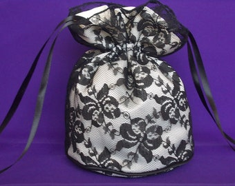 Black lace and ivory satin dolly bag. Ribbon drawstring, wrist purse, wedding bag for bride/bridesmaid/evening/prom/Goth. Bridal UK Seller