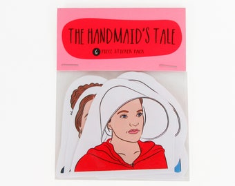 The Handmaid's Tale - 6 piece sticker set - The Handmaid's tale stickers - Margaret Atwood - Offred bonnet - Under his eye - Resist sticker
