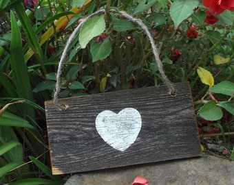 Small Heart Sign - Rustic Wedding Decor - Decorating With Hearts