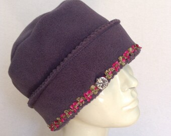 Polar Fleece Hat  - Ladies Grey Basic Winter Hat with French Ribbon Trim - Claire