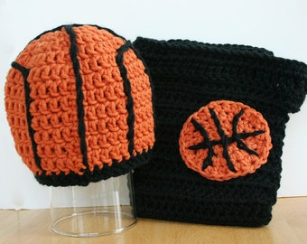 Baby Basketball Outfit, Crochet Basketball Hat and Diaper Cover, Newborn Baby to 12 Months, crochet photo prop