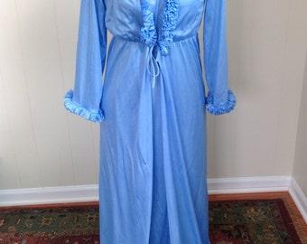 Vintage Night Gown & Robe Set, 70s Sheer Blue Lingerie Set, Ruffled Robe Peignoir, Made in USA Size Medium