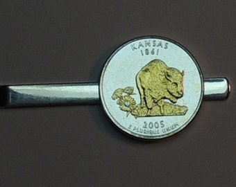 Tie clips - Kansas Statehood Quarter - Gorgeous 2-Toned Gold on Silver Coin