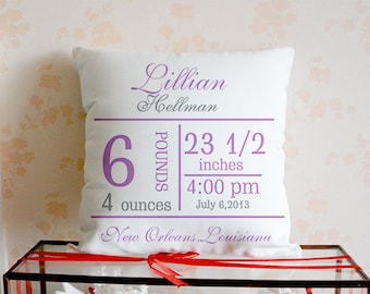 Birth Announcement Pillow cover,Personalized Baby Pillow, Baby States Pillow, Nursery Decor,Baby Shower Gift,White Canvas Pillow,Baby Gift