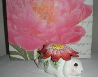 Fritz and Floyd Bunny Trinket Box Covered Ceramic Dish
