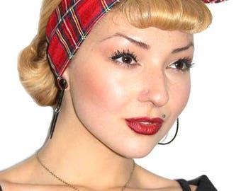 Red Tartan Land Girl Rockabilly Pinup 50s Vtg Style Head Scarf