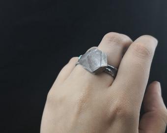 Point de Cristal Améthyste déclaration anneau rustique bijoux de pierres précieuses bague de taille 7 Tribal fort brut pierres précieuses bague de cadeau pour les femmes unique en son genre
