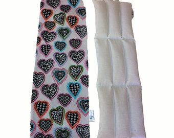 Large Microwavable Rice Bag w/Removable Washable Flannel Cover/Heart Theme/Gift for Her/Heat Therapy/Mother's Day Gift/Ache Relief