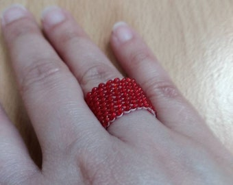 Peyote Ring Made With Red Seed Beads - Handmade Beaded Ring - Red Ring - Band Ring - Seed Beads Ring