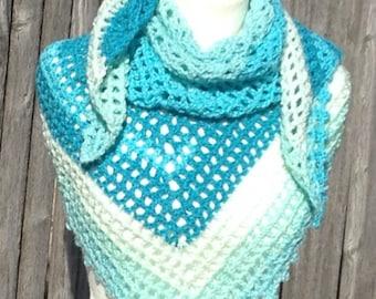 Lacy Shawl Blue bayou Triangular Handmade Soft and Fluffy