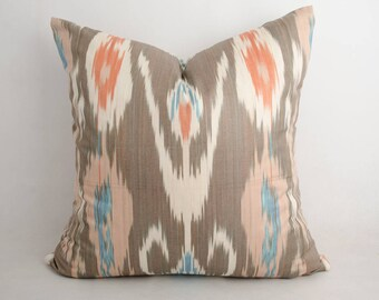18x18 cotton ikat pillow cover, brown pillow, brown ikat, brown cushion, orange, blue