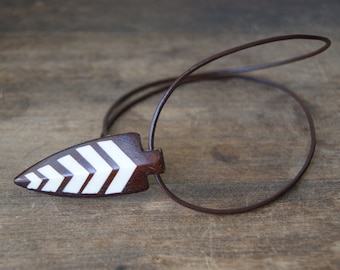 Wood and Bone Arrowhead Necklace with brown leather cord