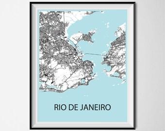 Rio de Janeiro Map Poster Print - Black and White
