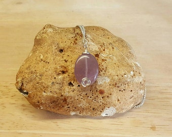 Purple Amethyst Pendant. Reiki jewelry uk. February birthstone necklace. Wire wrapped pendant
