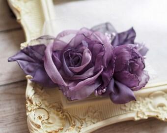 Purple Hair Accessory, Wedding Hair Fascinator, Purple Flower Clip, Purple Fascinator, Purple Bridesmaid Flower, Floral Head piece,