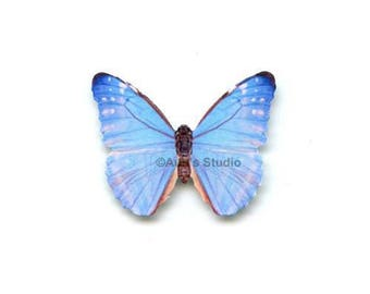 12 Small Paper Butterflies, Realistic 1 inch Paper Butterflies - Sky blue butterfly