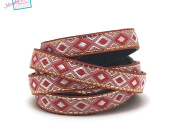 "1 m strap leather 10 x 2 mm ""arabesque"", Red"